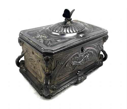 Antique Art Nouveau French Metal Casket/ Trinket Box / Jewellery / Butterfly / Floral